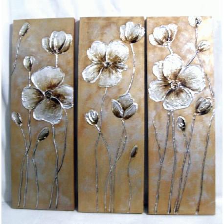Triptico de flores plateadas Silver