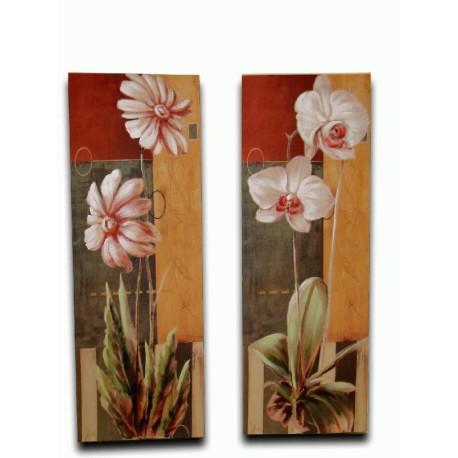 Pareja de dos cuadros de flores